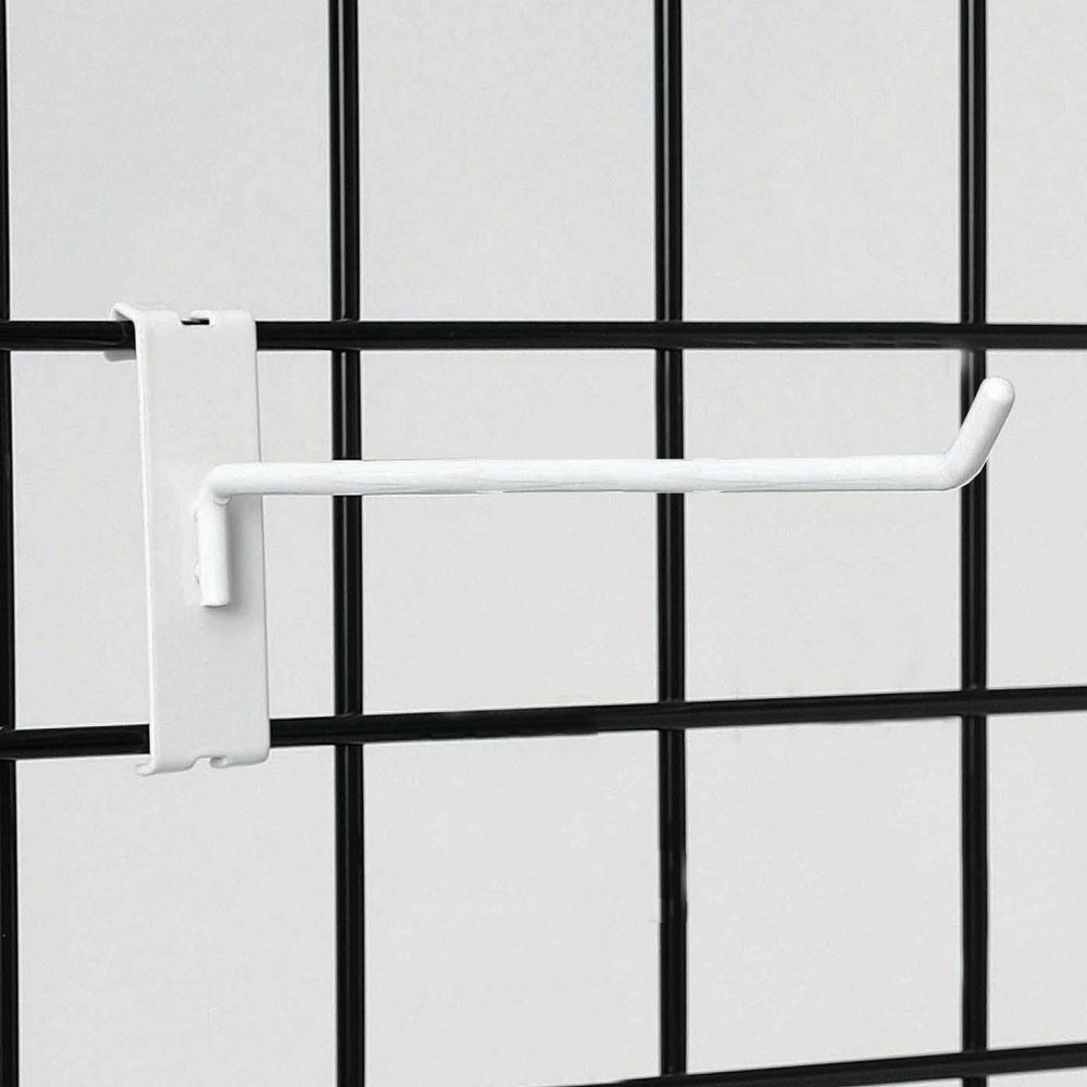 "8"" White Gridwall Hooks"