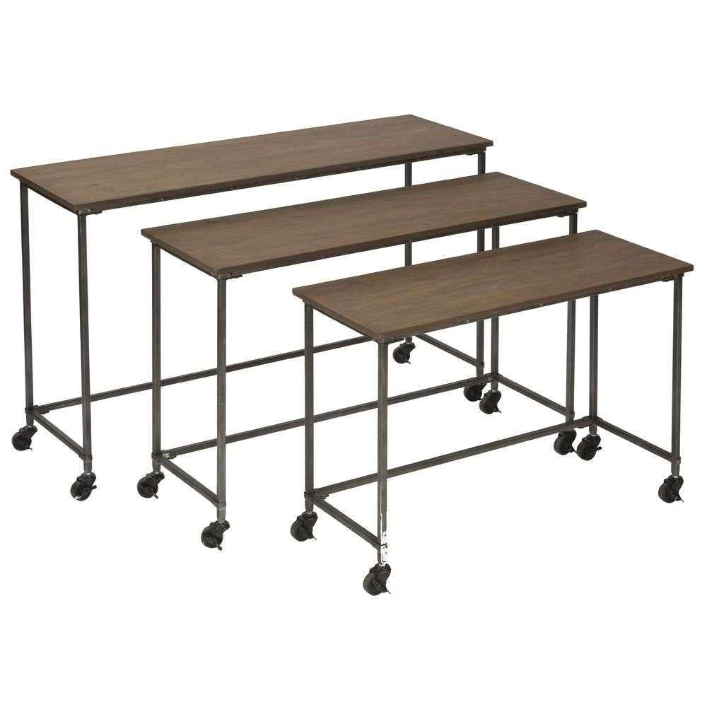 NESTING TABLES, IRON/WOOD, W/CASTERS, SET3