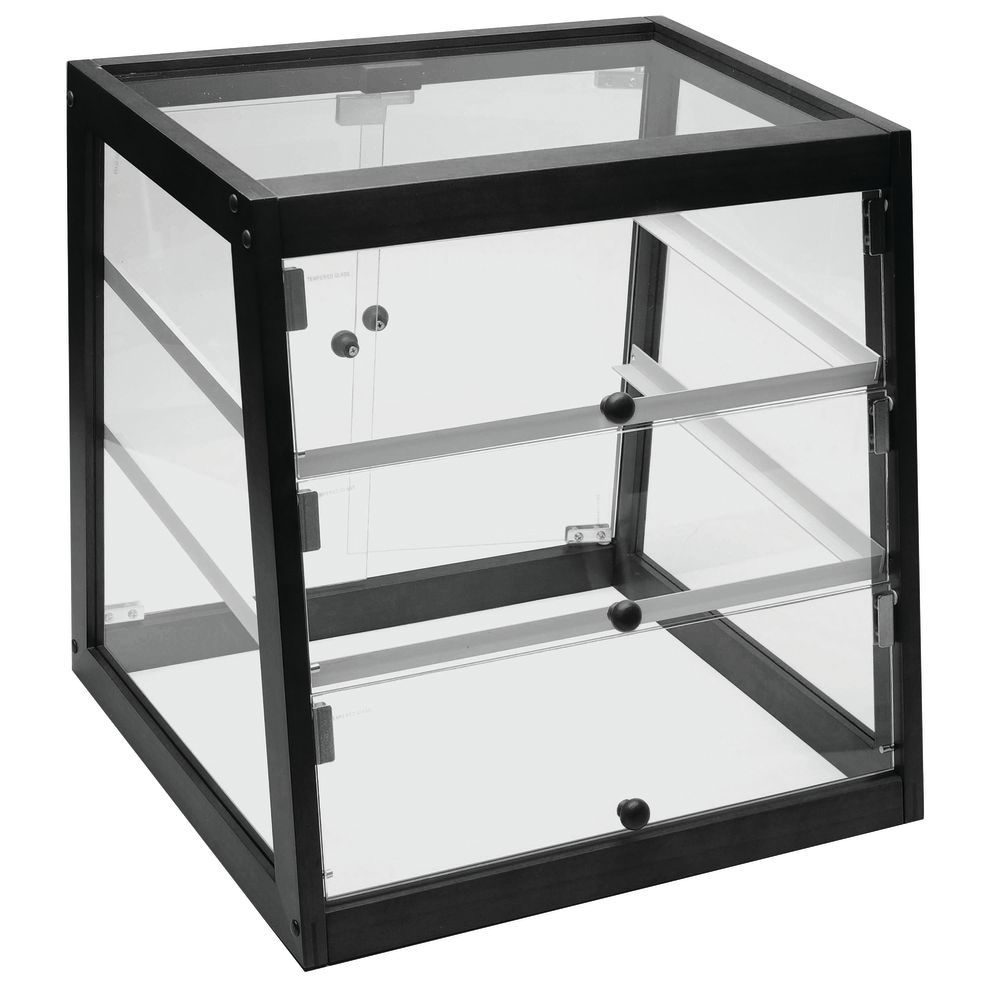 DISPLAY CASE BLACK, FRONT+REAR SERVE