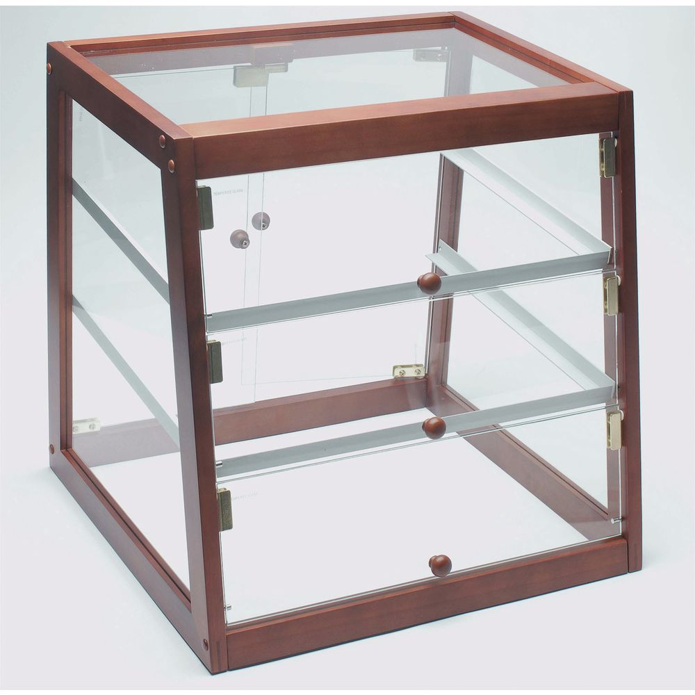 Glass Bakery Display Case Trimmed with Solid Wood in Mahogany Finish
