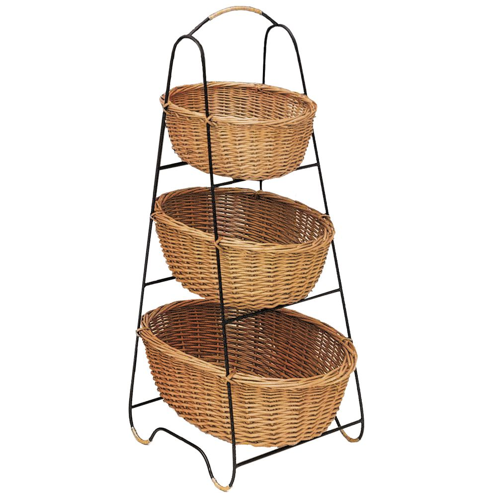OVAL 3-TIER RATTAN/WIRE DISPLAY
