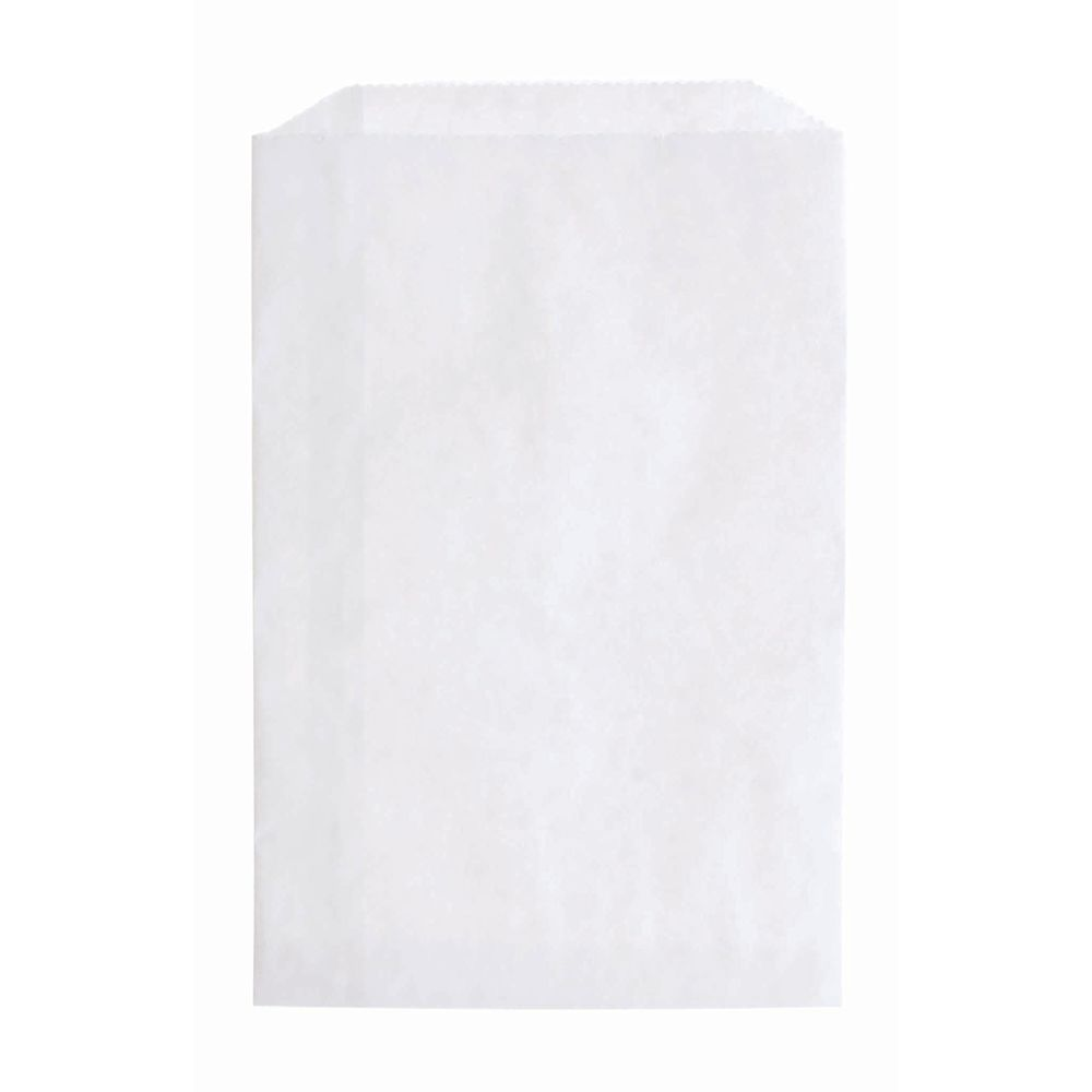 "White Flat Paper Merchandise Bags 6 1/4"" x 9 1/4"""