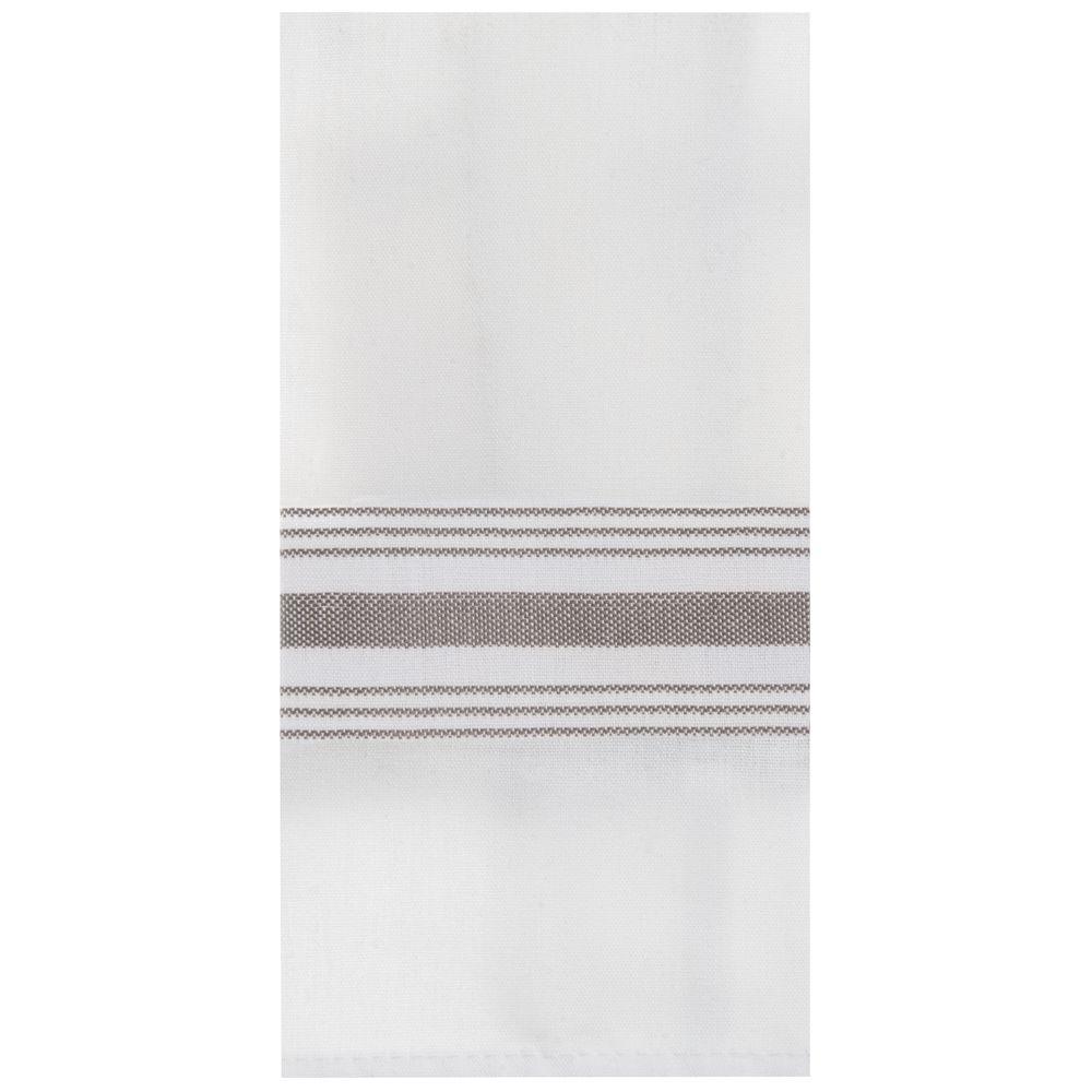 Marko Striped Bistro Napkins 18 x 22 White with Grey Stripes 12/PK