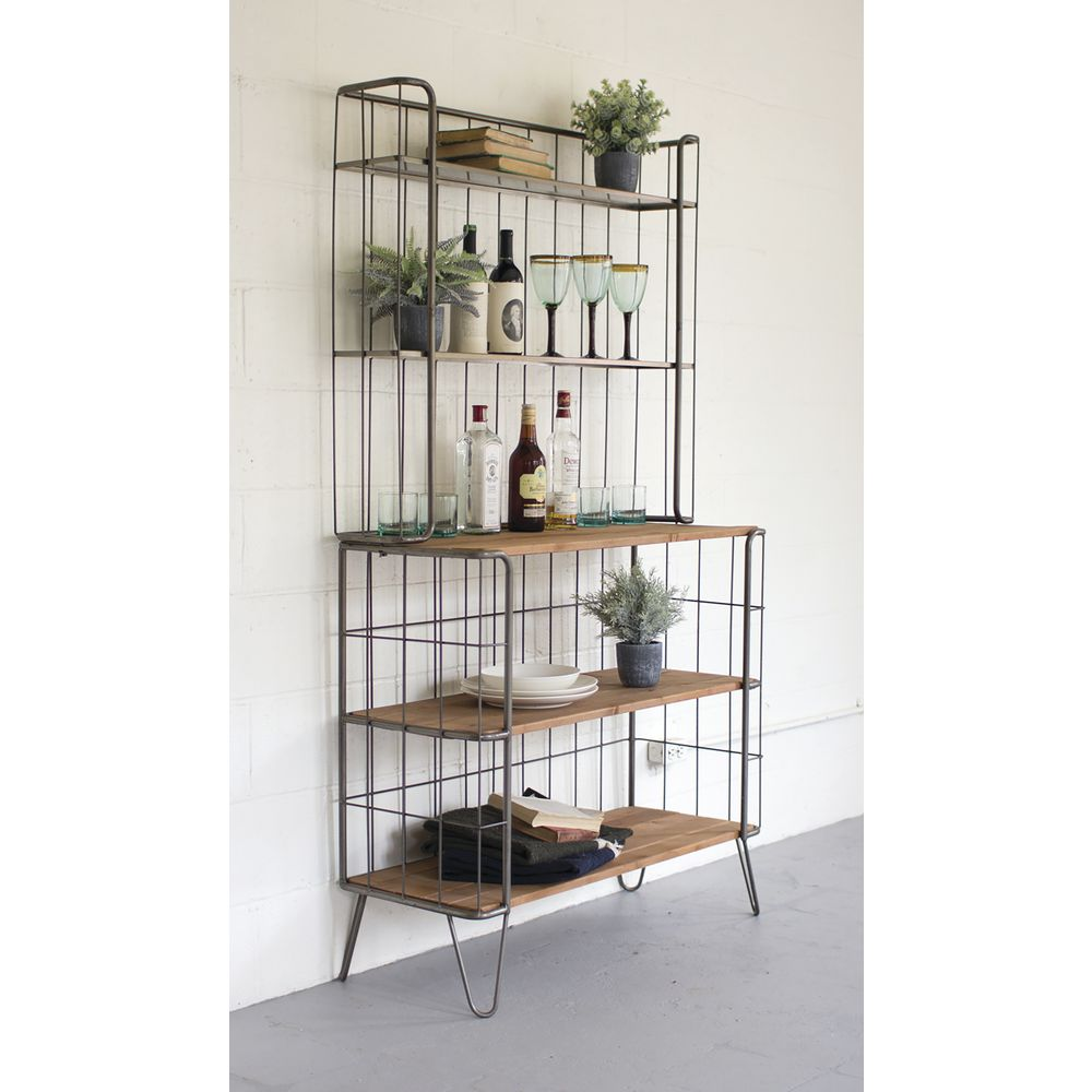 "HUTCH, WOOD/METAL, 5SHELF, 71""H"