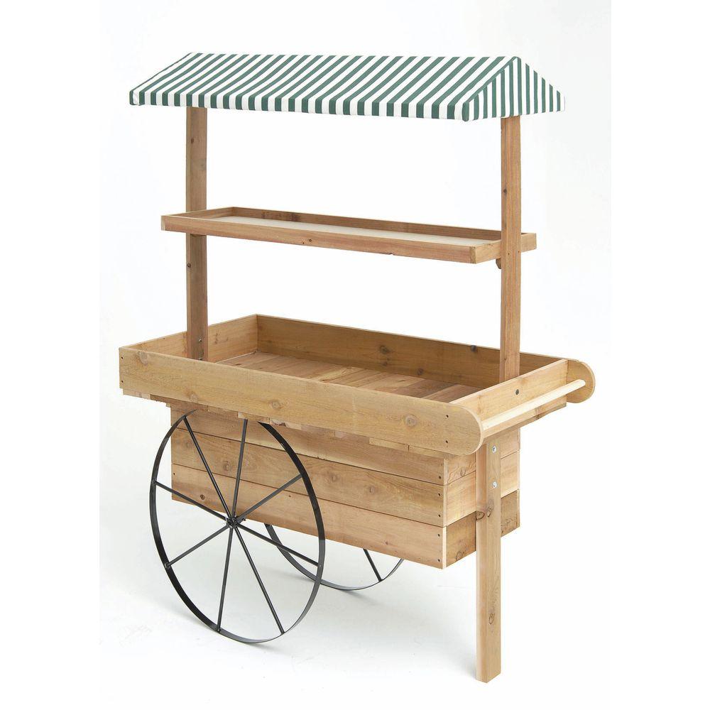 Expressly HUBERT Unfinished Cedar Canopy Display Cart - 54L x 29W x ...