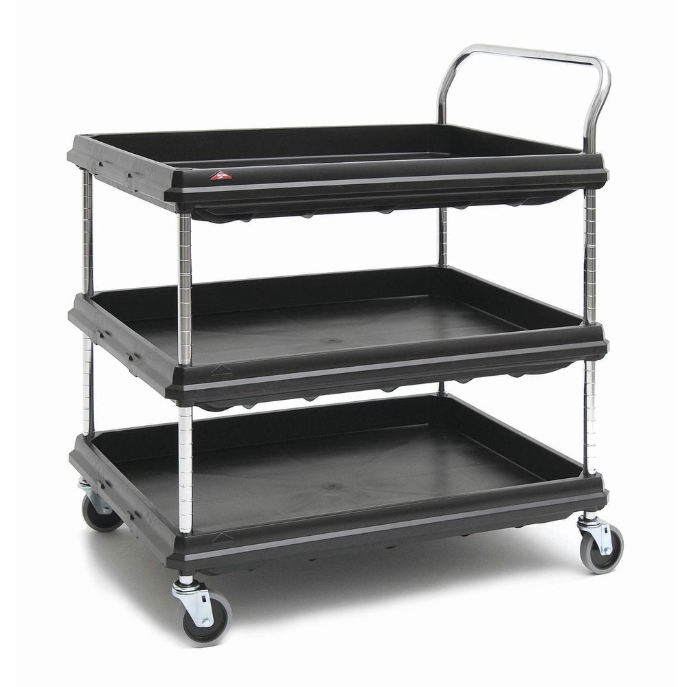 Gray 400 lb Total Capacity 2 Shelves Metro Deep Ledge Series Polymer Utility Cart with 4 Swivel Casters 41 Height x 21-1//2 Width x 32-3//4 Length