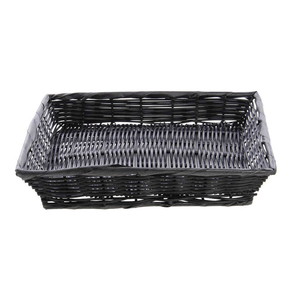 "14"" x 12"" x 2 1/2"" Synthetic Black Wicker Basket"