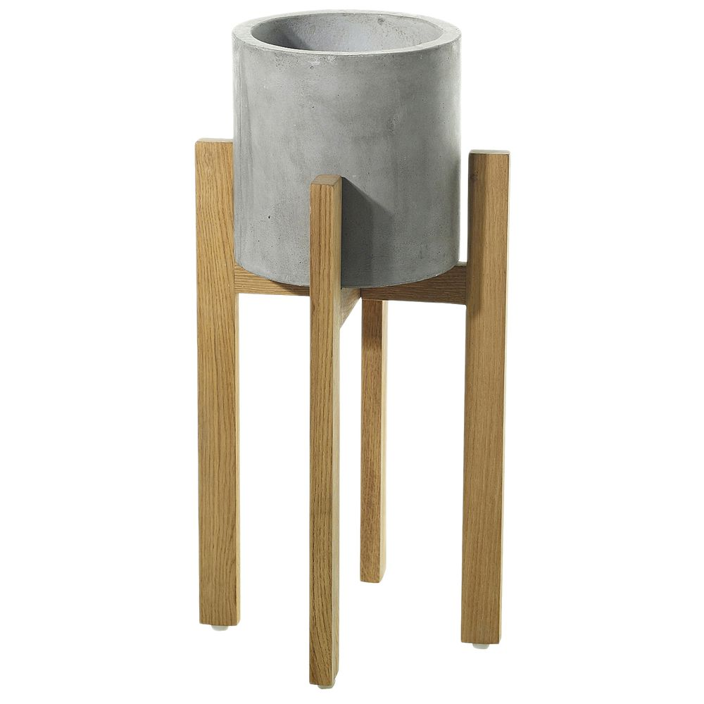 "PLANTER, W STAND, BERLIN, GREY, 21-3/4""H"