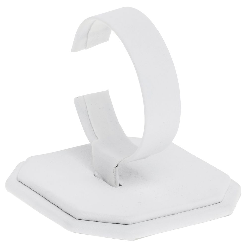 "WATCH STAND, LEATHERETTE, WHITE, 3.5""H"