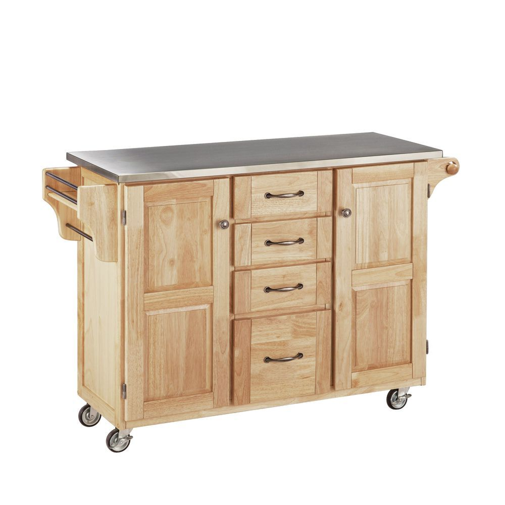 Large Mobile Kitchen Cart Natural Base w/Stainless Steel Top