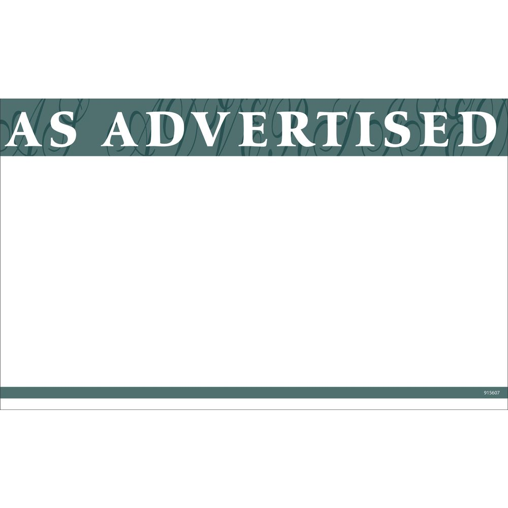 """""""As Advertised"""" Discount Signs, 11 x 7"""
