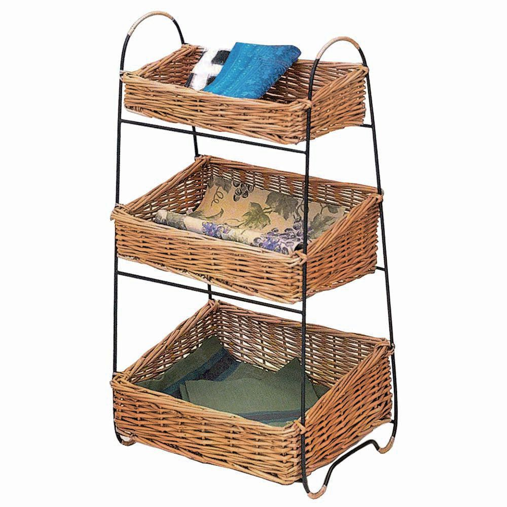 RECT.3-TIER RATTAN/WIRE DISPLAY