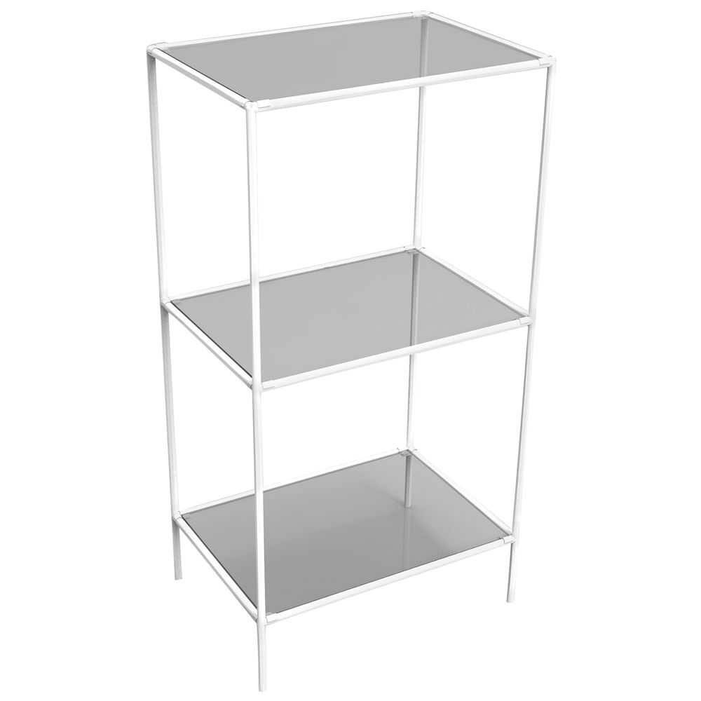 DISPLAY TOWER, 3FIXED SHELVES, WHITE