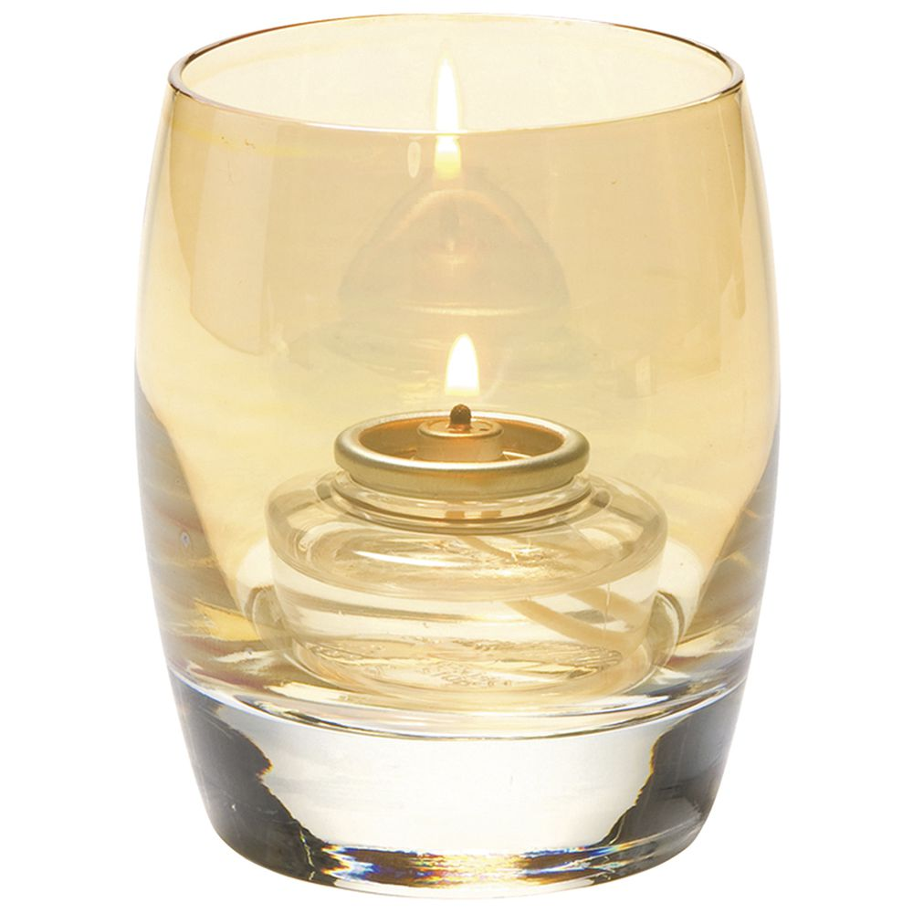 "Contour Lustre Votive Candle Holder  Gold In Color Glass 3""Dia x 3 3/4""H"