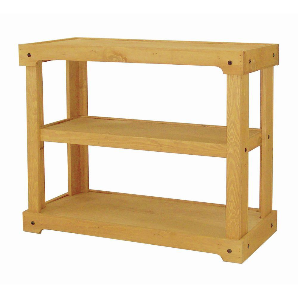 Wood Shelving Unit with Oak Stain