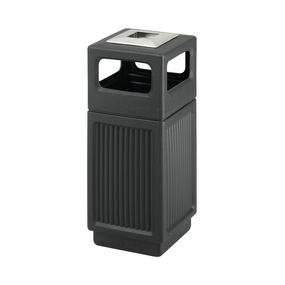Safco Indoor Outdoor Receptacle 20 gal Charcoal Resin Panels 9969CH