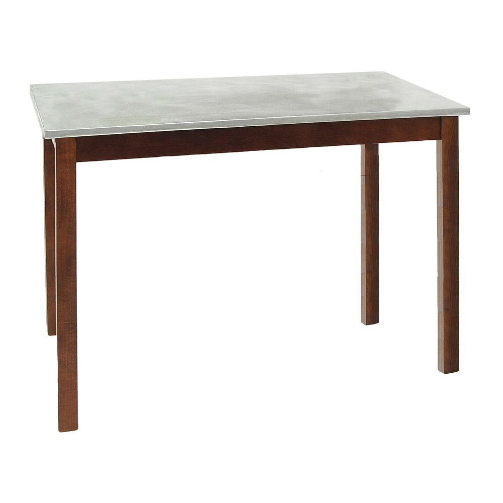 Galvanized Top Table with Mahogany Stain