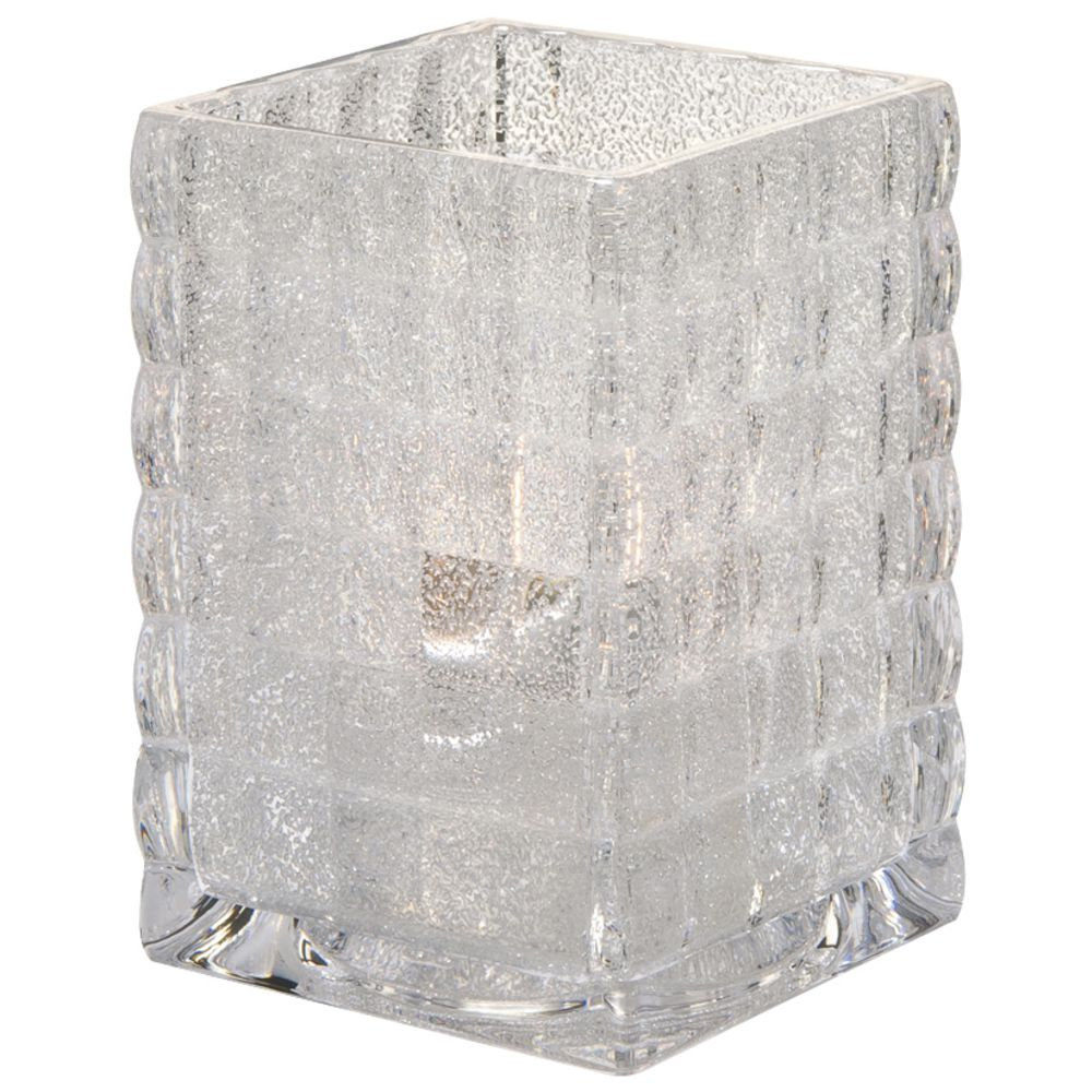 """Optic Block Square Votiove Candle Holder Clear Jewel Glass 2 5/8""""L x 2 5/8""""W x 3 3/4""""H"""