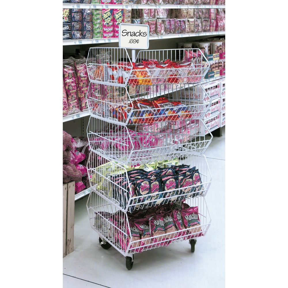 Tiered Baskets with Sign Holder Post