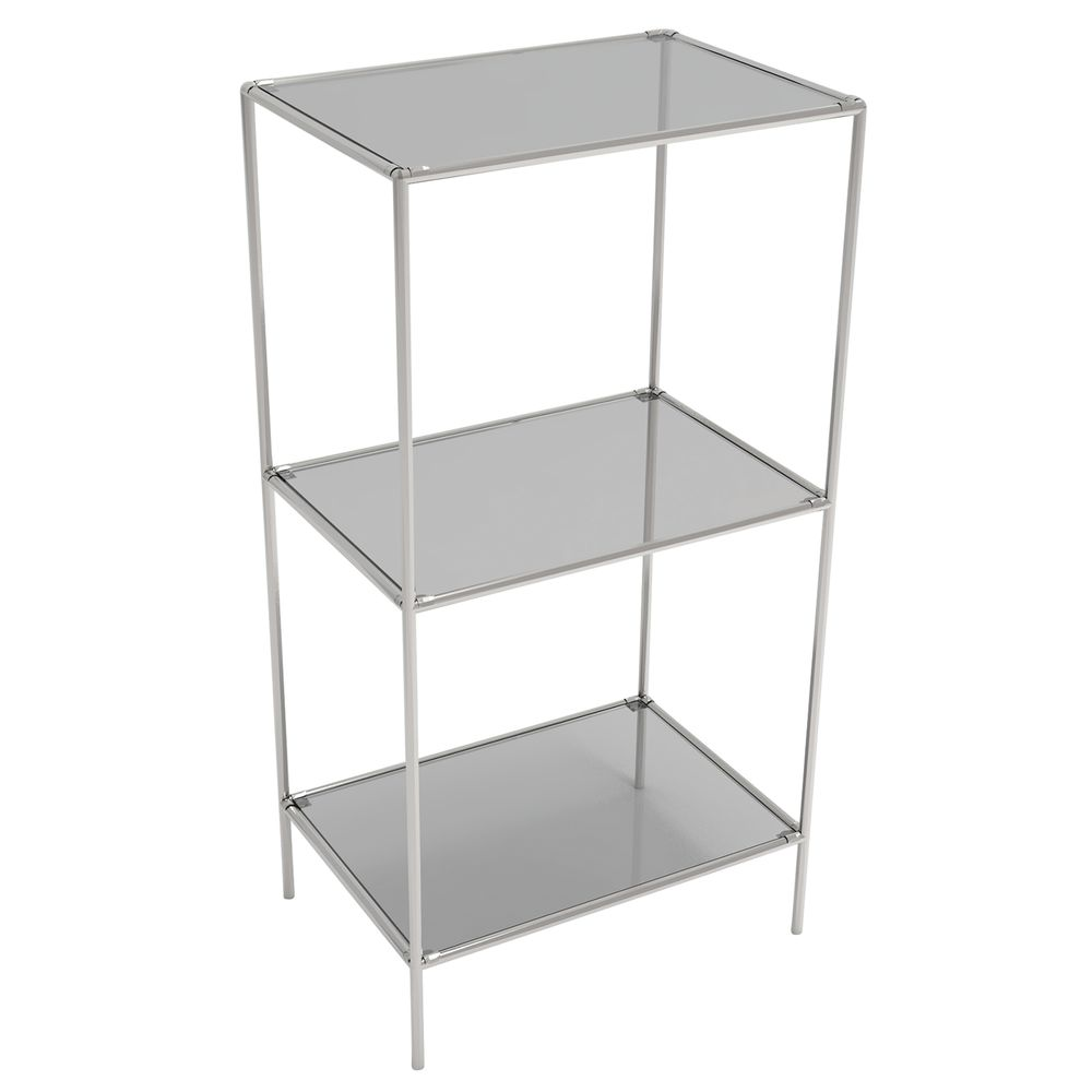 DISPLAY TOWER, 3FIXED SHELVES, SILVER