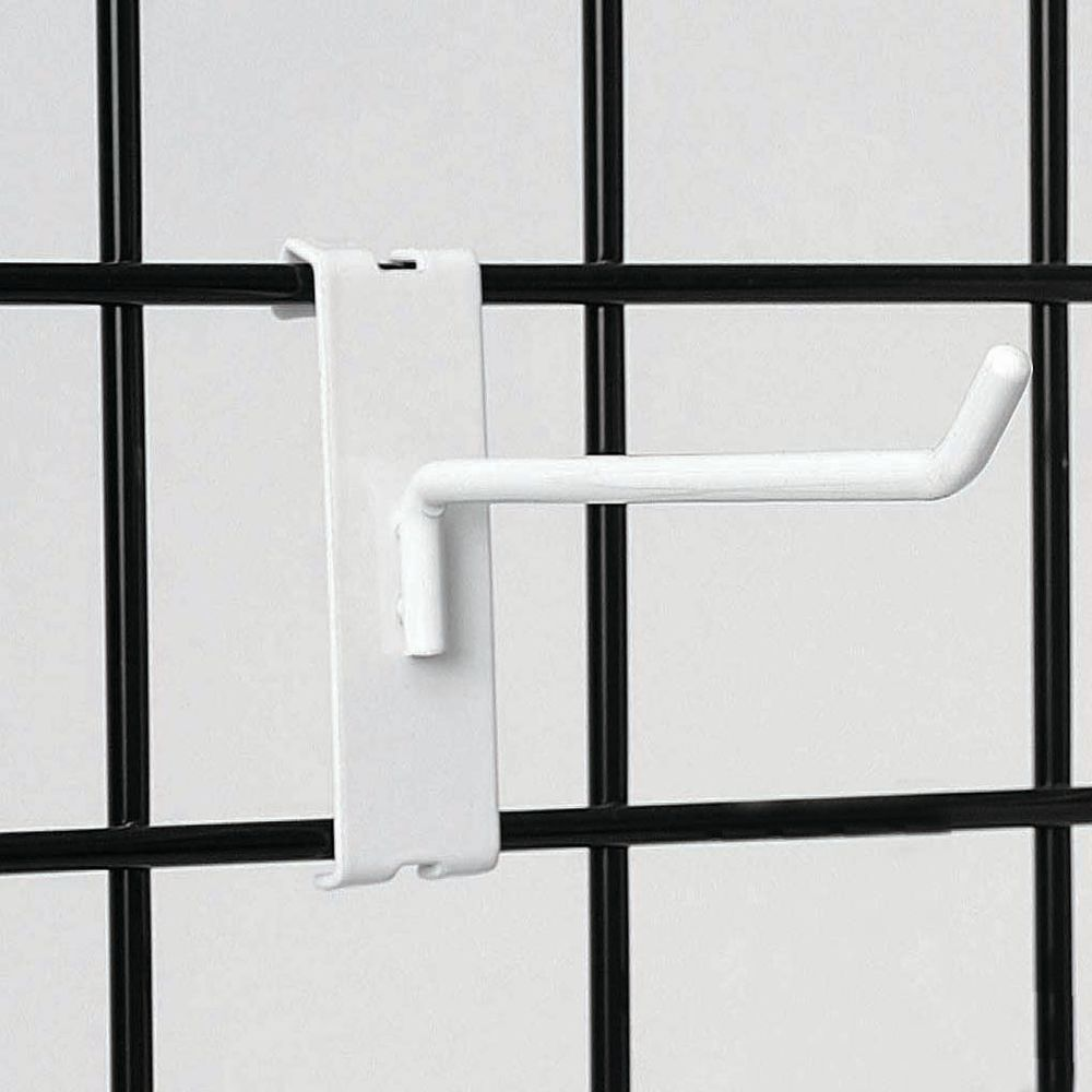 "4"" White Grid Wall Hooks"