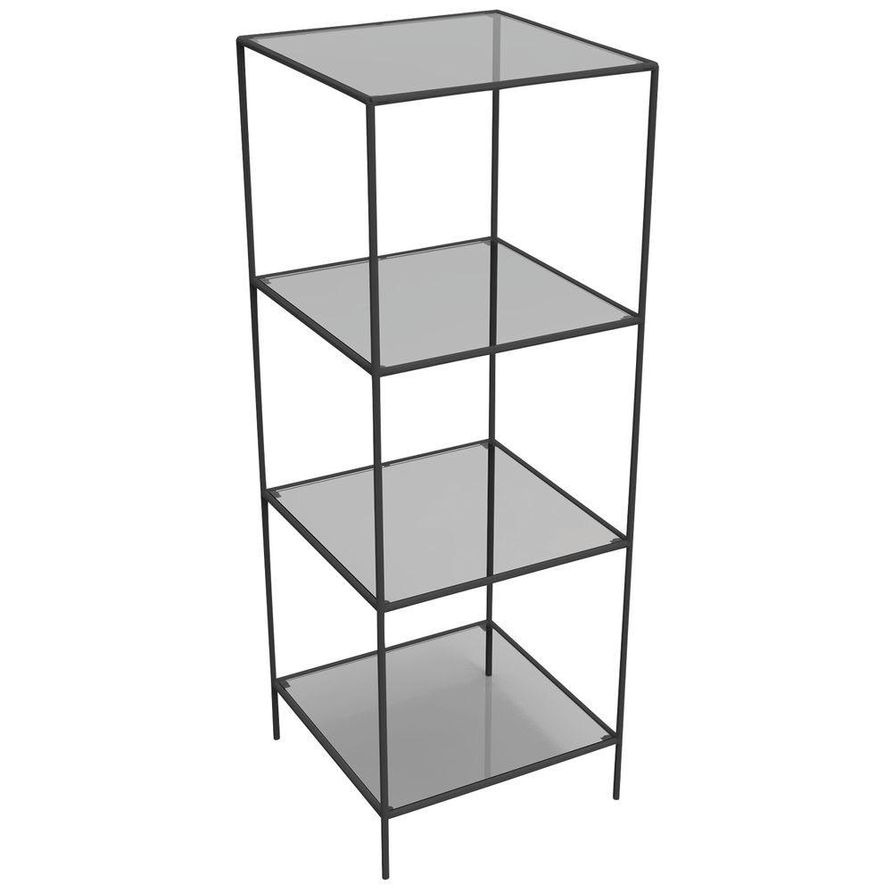 DISPLAY TOWER, 4FIXED SHELVES, BLACK