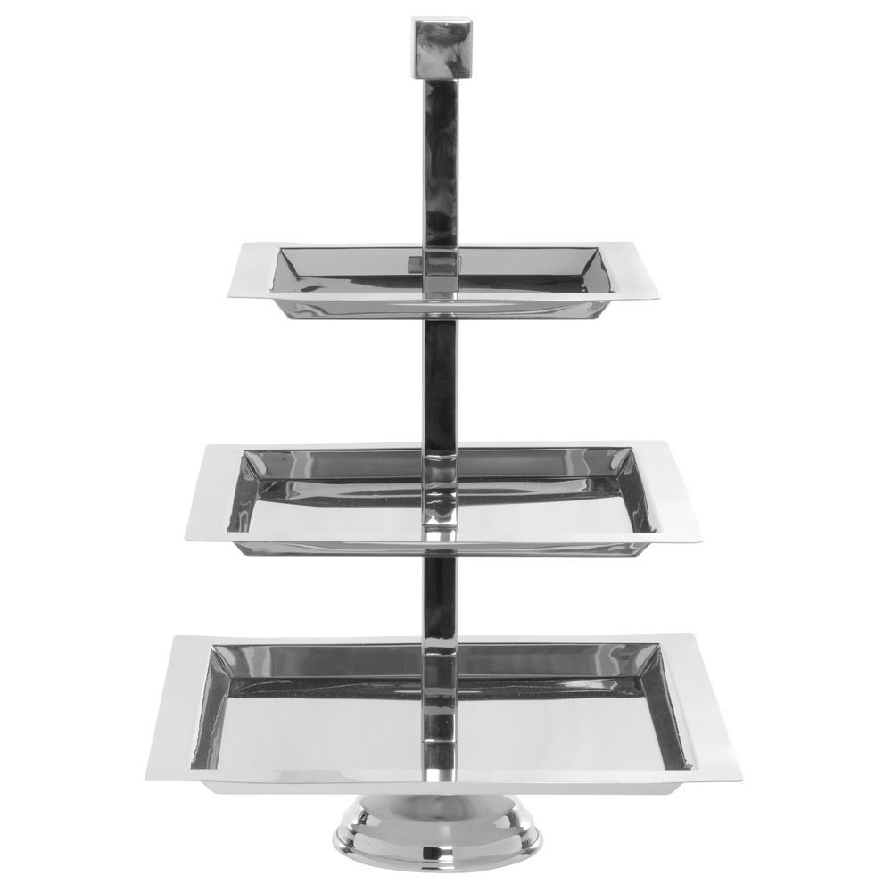"""STAND, SERVING, 3-TIER, SQUARE, S/S, 22""""H"""