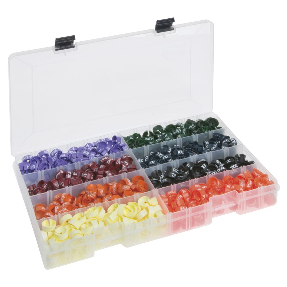 Hanger Size Markers and Storage Tray