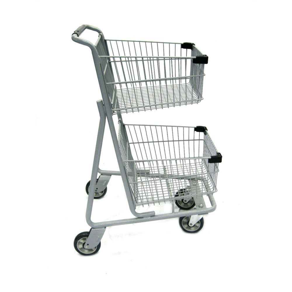 """Double Basket Shopping Cart with 5"""" SofRunner Wheels"""