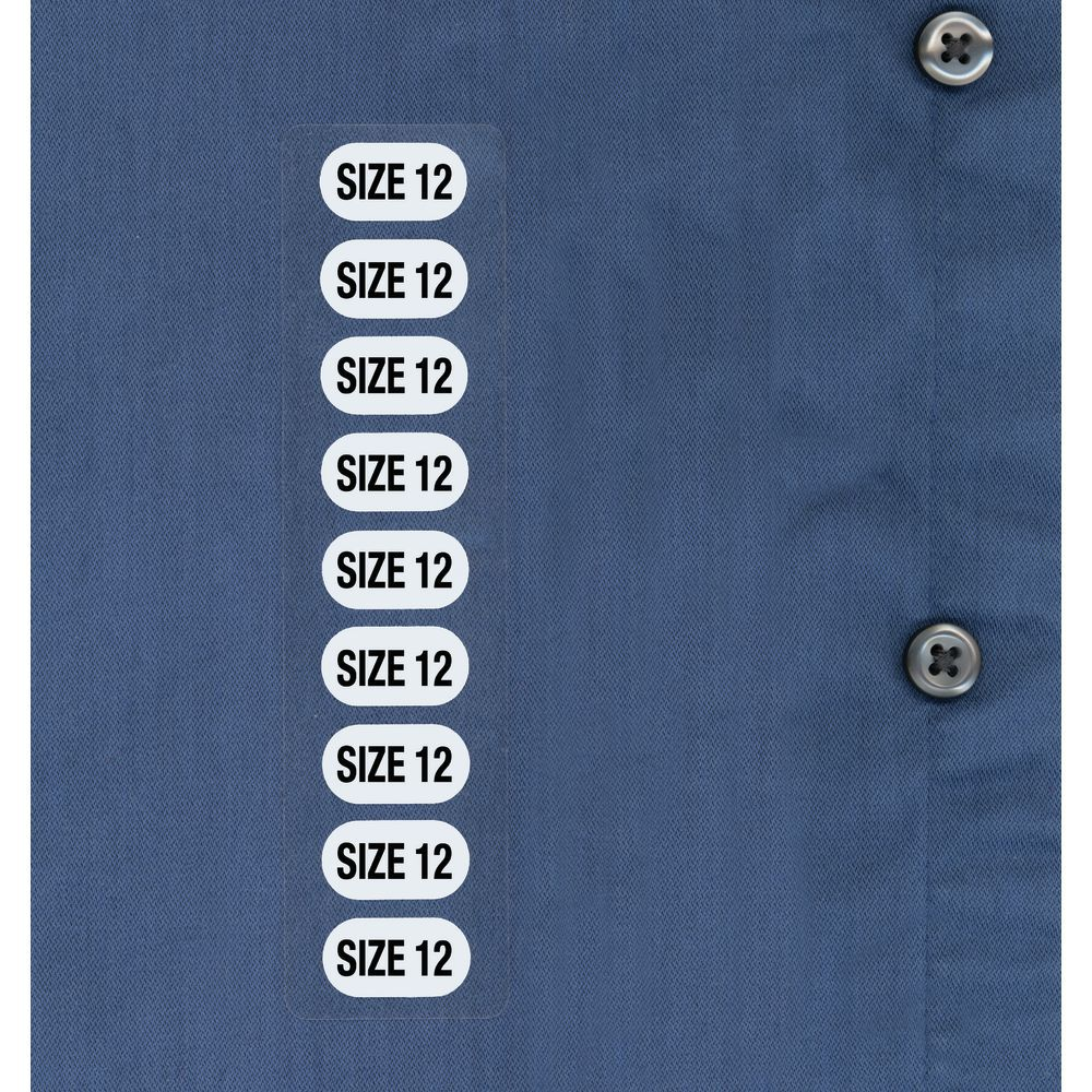 Ladies Clothes Size Stickers 12