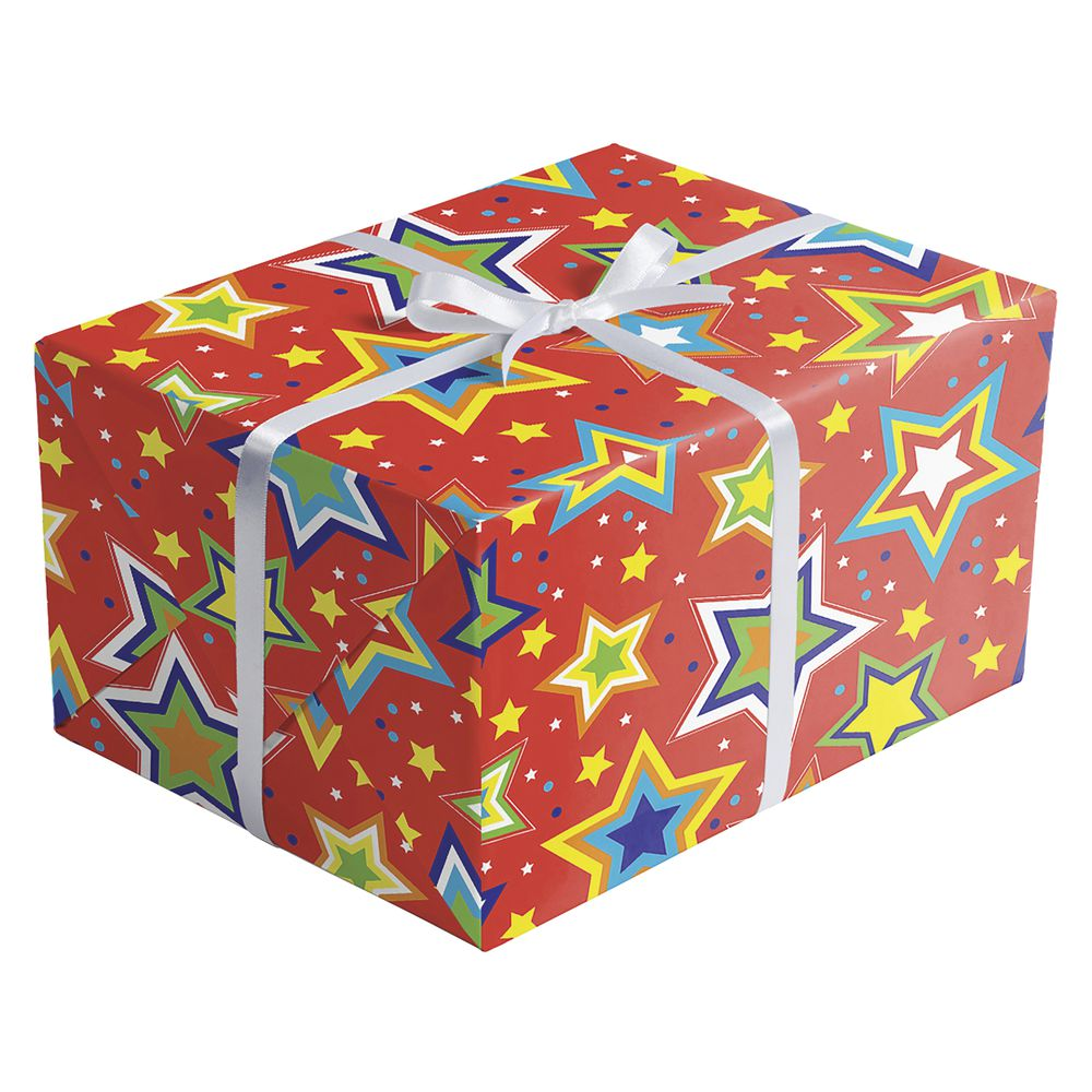 "GIFT WRAP, STARRY RED, QUARTER ROLL, 30""W"