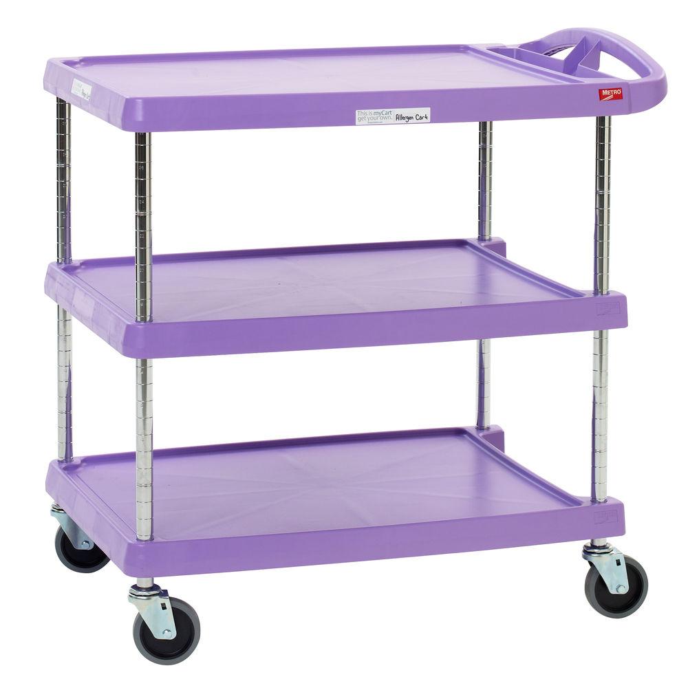 Metro® MyCart™ Purple Allergen Free Zone Plastic Utility Cart 3-Shelf