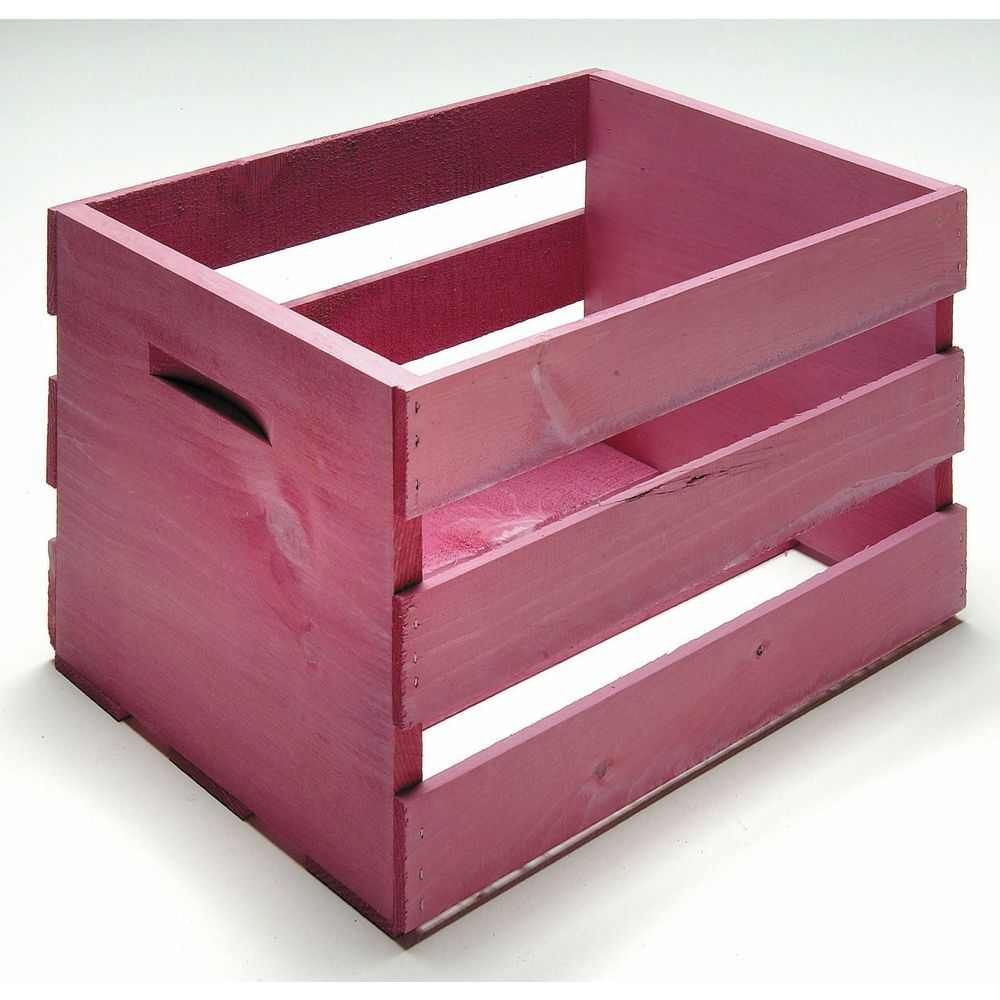 CRATE, WOOD, LARGE, RASPBERRY PINK