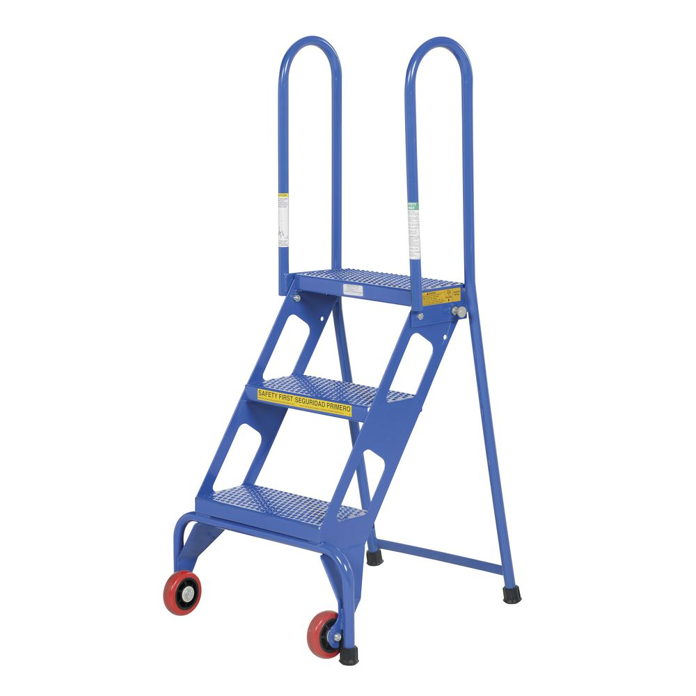 Awe Inspiring 3 Step Blue Steel Folding Ladder With Wheels Ocoug Best Dining Table And Chair Ideas Images Ocougorg