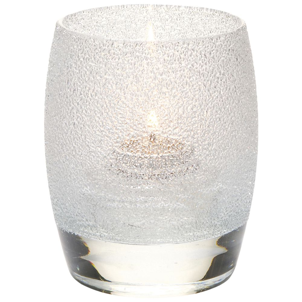 "Contour Clear Ice Votive Candle Holder Glass 3""Dia x 3 3/4""H"