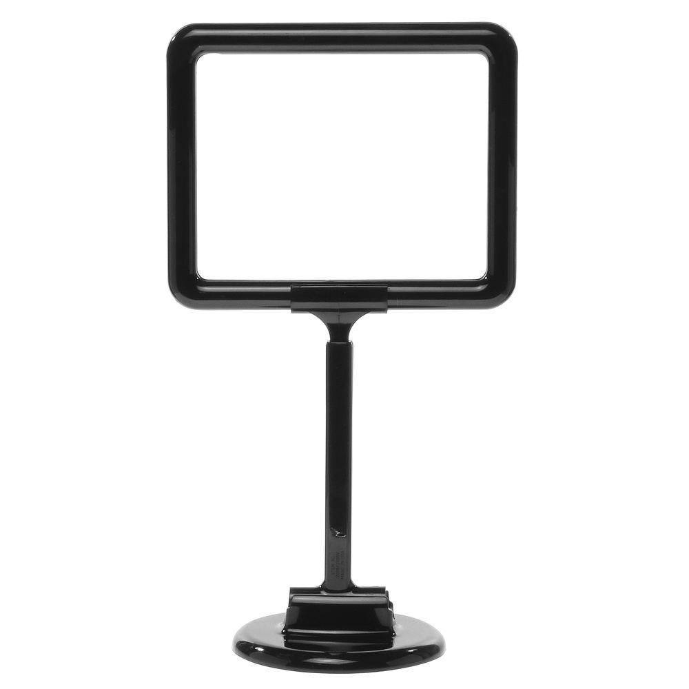 7 x 5 1/2 Adjustable Sign Display, Black, Round Base