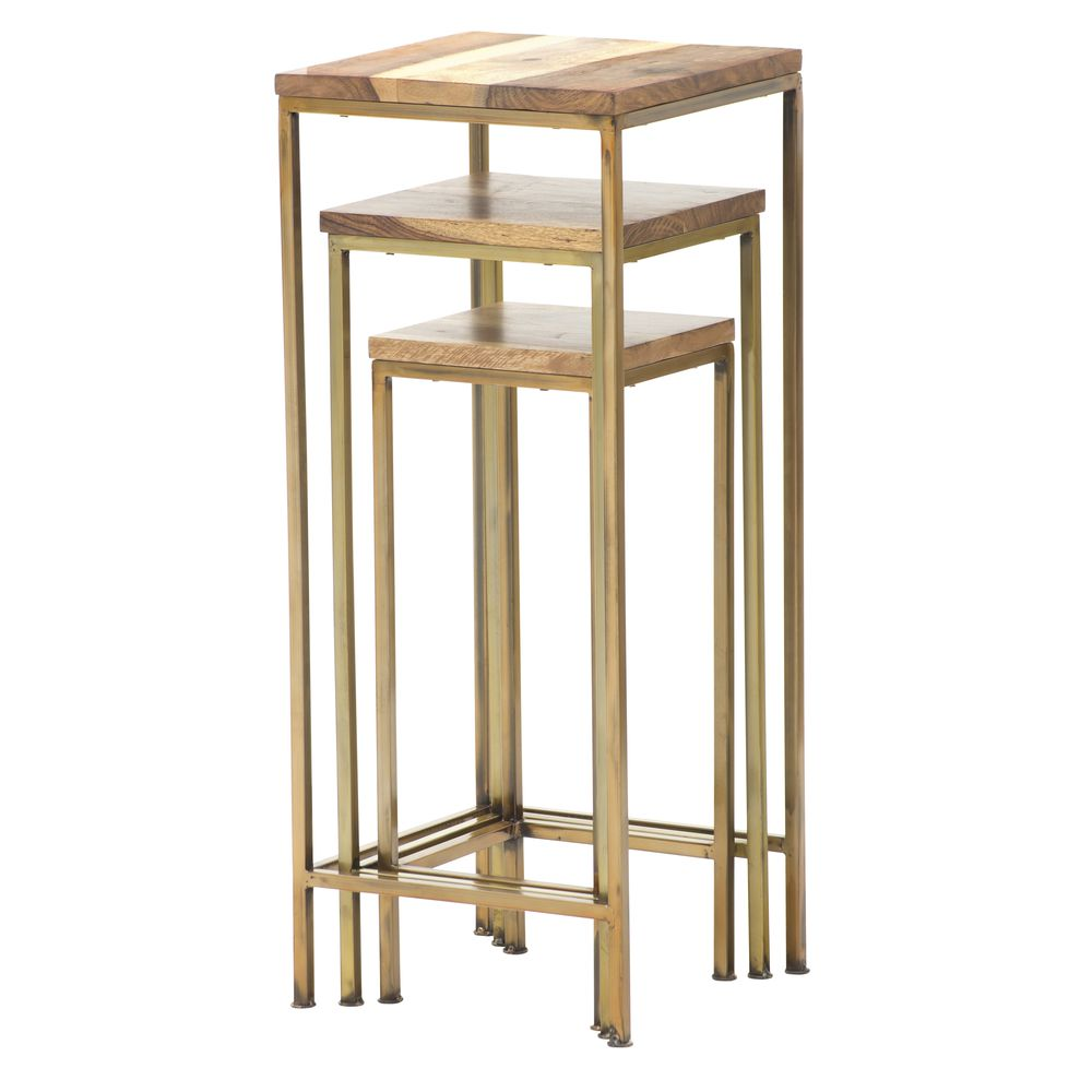 TABLES, NESTING, BRASS/WOOD, SET3