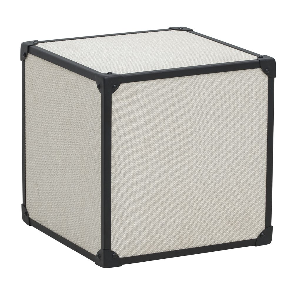 RISER, CUBE, WOOD, LINEN, GRAY, LARGE