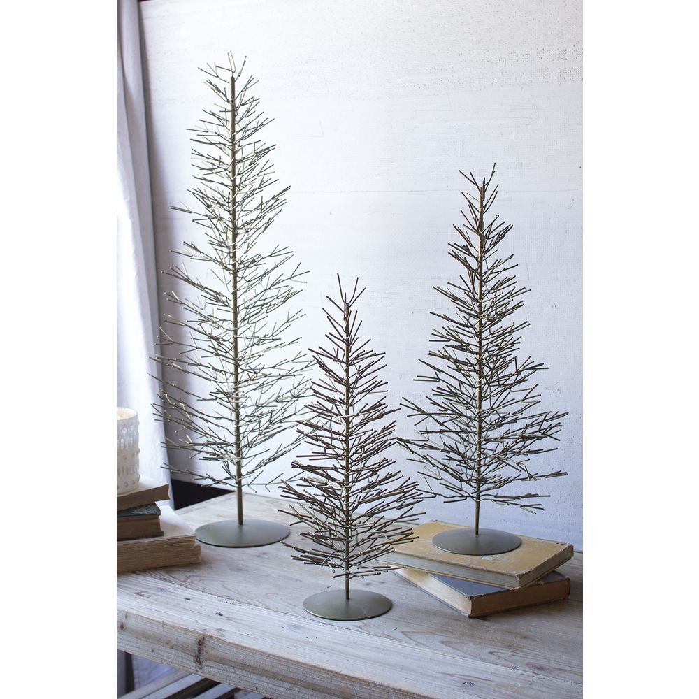 TREES, WIRE, ANTIQUE BRASS, SET/3, 30H