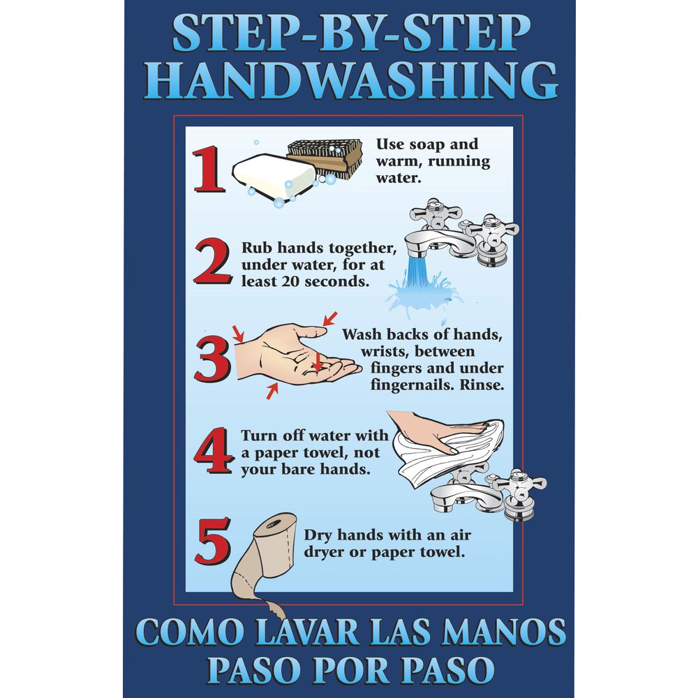 POSTER, FIRST AID, STEPS/HANDWASHING, 11X17