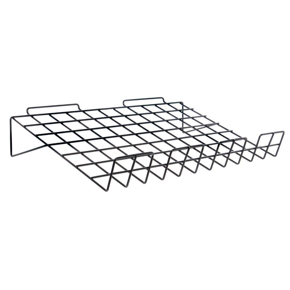 Black Wire Shelf for Slatwall Attaches to Slatboard