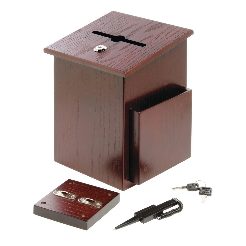 SUGGESTION BOX, WOODEN, MAHOGANY