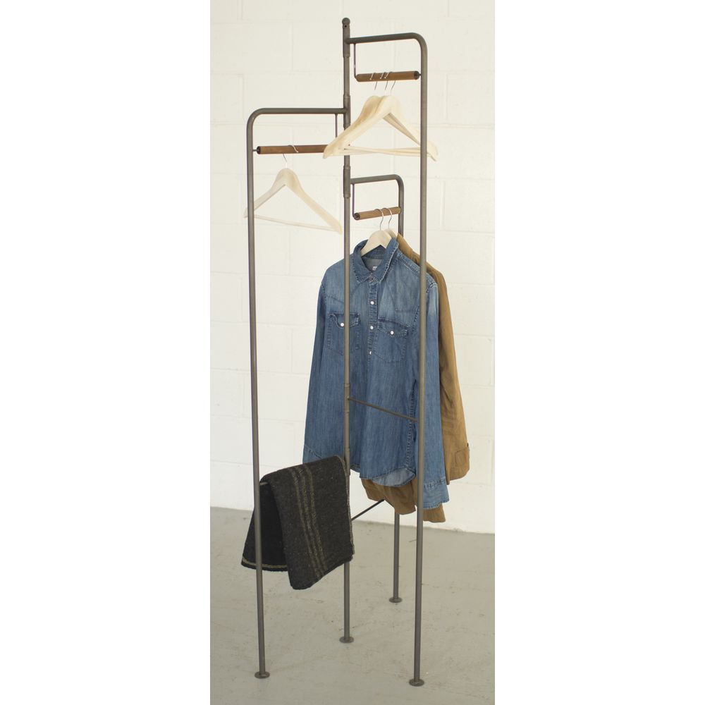 "RACK, 3SIDED, FOLDING, METAL, BROWN, 74""H"