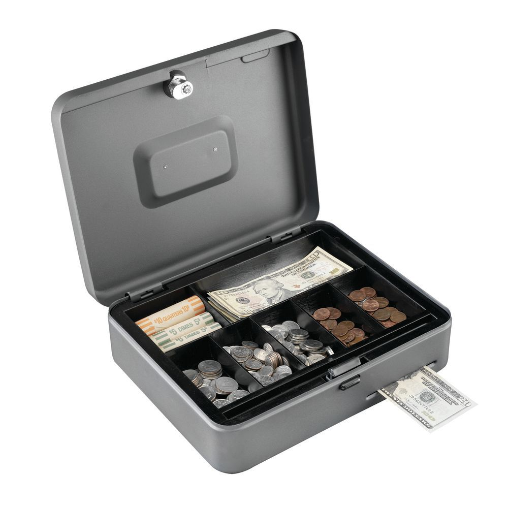 CASH BOX, STEELMASTER/W/CASHSLOT, GRAY