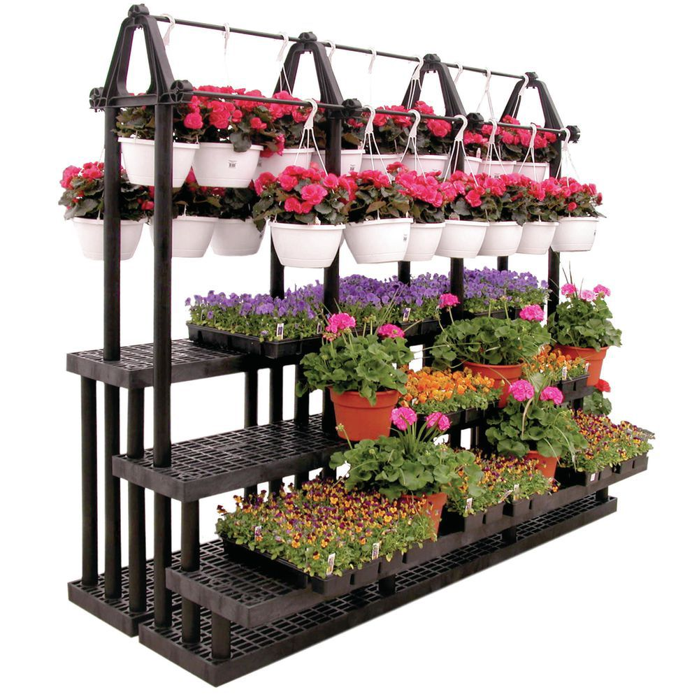 Black Tiered Flower Stand With Plant Hanger on Plant Stand Hanging  id=98527