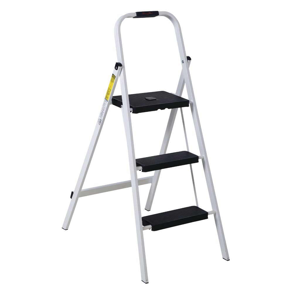 Incredible 3 Step White Steel Folding Ladder Evergreenethics Interior Chair Design Evergreenethicsorg