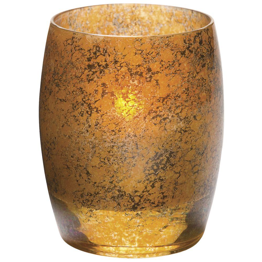 """Contour Antique Gold Votive Candle Holder Glass 3""""Dia x 3 3/4""""H"""