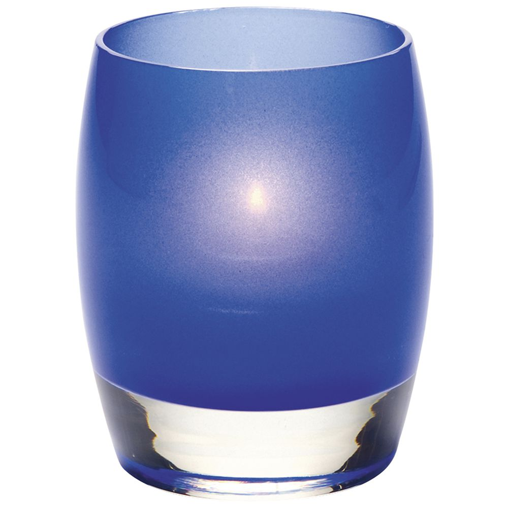 "Contour Satin Votive Candle Holder In Dark Blue Color Glass 3""Dia x 3 3/4""H"