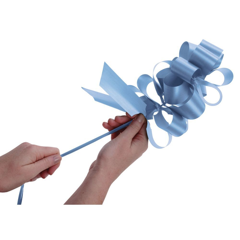 Light Blue Flora-Satin Pull Bows