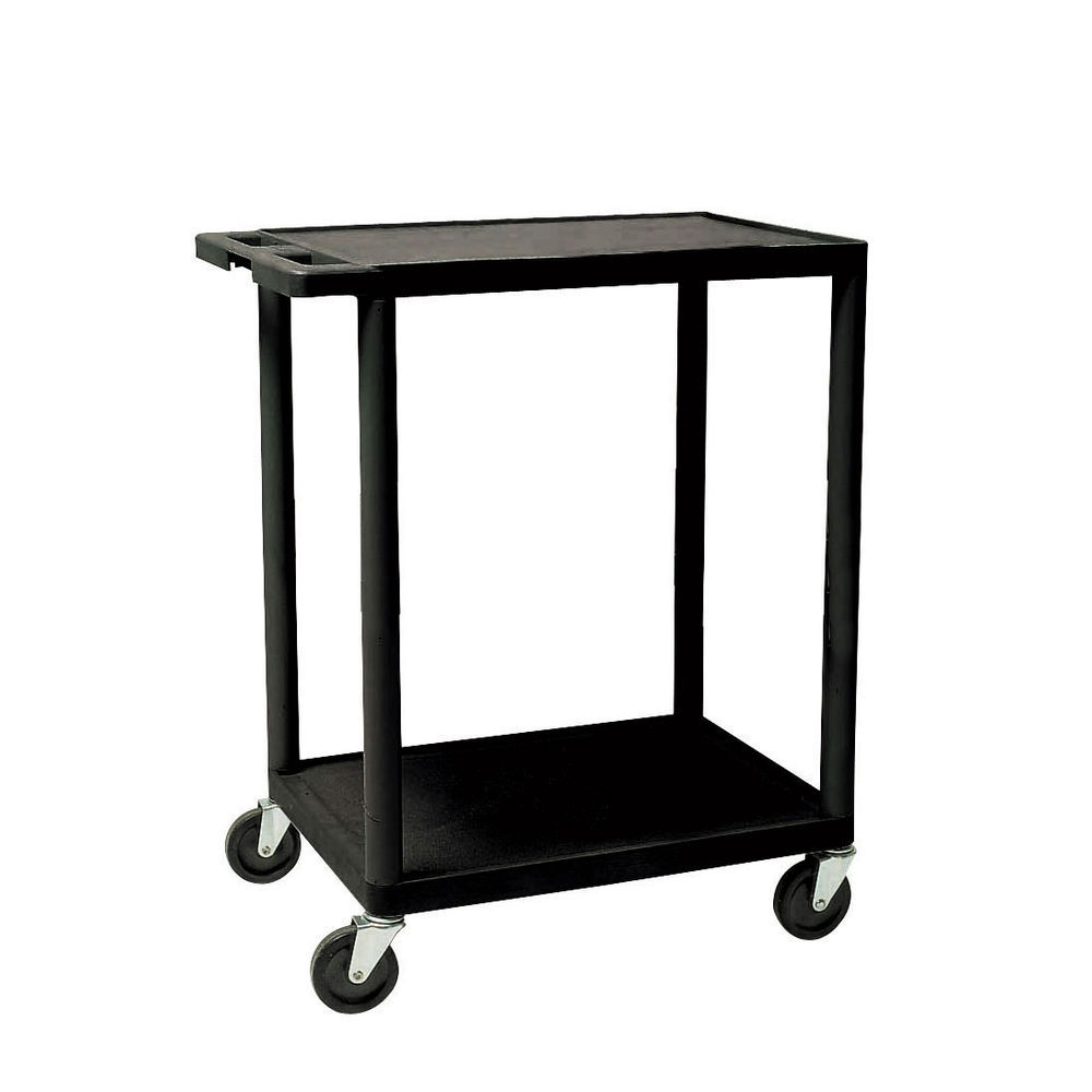 UTILITY CART, BLACK 2-SHELF, 32X24X33